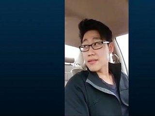 Cute korean guy jerkoff in car