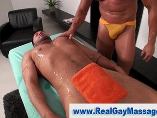 Straight guy ass toyed by gay bear masseuse