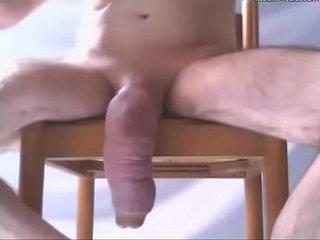 Big swollen dick hangs low in selfshot video - penis pumping