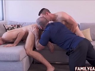 Big gay daddy teaches his sons sex