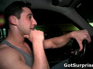 Dude gets his cock sucked in glory hole gay sex
