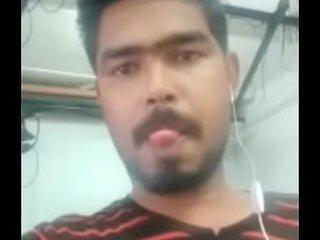 Indian man cum in office